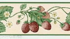 Strawberry Plants Strawberries Flowers Berries Tan Green Cream Wallpaper Border