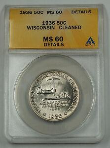 1936 Wisconsin Silver Half Commemorative Coin ANACS MS 60 Dtls Clnd (Better) (A)