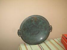 """Vintage Mid Century Pal Bell Israel Judaica Solid Metal Verdigris Plate 11"""""""