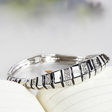 9K GF 9CT WHITE GOLD SIMULATED DIAMOND BAR LINK BLACK PATTERN BANGLE BRACELET
