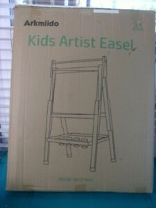 Wooden Art Easel Double-Sided Whiteboard and Chalkboard Adjustable Standing with