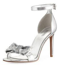 900486b0e5a Michael Kors Shoes Size 7 High HEELS Silver Paris Metallic Ankle Strap Bow  Dress
