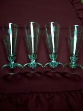 """4 Princess House Clear Fluted Champagne Glasses 7.5"""" """" Tall/3"""" Round Rim"""