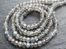 "2.8mm MICRO FACETED LABRADORITE RONDELLES, 14"", 140 beads"