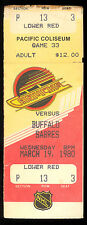 1980 March 19 NHL HOCKEY FULL TICKET STUB VANCOUVER CANUCKS VS Buffalo Sabres