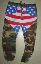 HOMEMADE Mens AMERICAN FLAG GREEN CAMOFLAUGE Jogger Pants S M