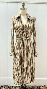 DIANE VON FURSTENBERG VTG ICONIC WRAP DRESS 1970'S SIZE M Brown Feather Print