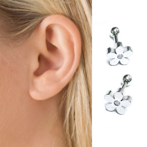 Pair Of Daisy Flower Tragus Cartilage Earring Bar Stud Silver Surgical Steel