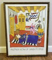 RARE Vtg 1989 ANOTHER VICTIM OF SANTA FE STYLE Art Print Framed Jerome E Milord