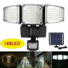 3-Head 188 LED Solar Security Motion Flood Light 1200LM Outdoor Sensor Lamp