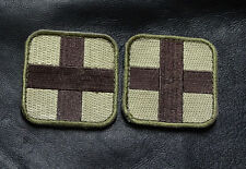 MEDIC CROSS EMT EMS RED CROSS MULTITAN  2 PC FIRST AID HOOK PATCH