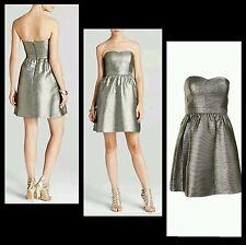 $188 AQUA Metallic Gold Strapless Fit Flare Cocktail Party Pocket Dress~8  M3020