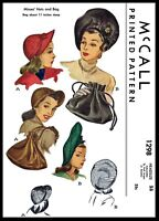 McCall # 1298 Beret HATS & BAG Fabric Sewing Pattern Chemo Cancer Alopecia 23""
