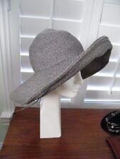 VINTAGE DEBORAH HARPER NY WELL KNOWN MILLINER GREY STRAW PAPER FLOPPY HAT OS