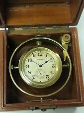 Waltham USA Model 57 Deck Clock With Brass Gimbels & Wooden Box