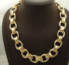 "18"" Technibond Bold Hammered Square Chain Necklace 14K Yellow Gold Clad Silver"