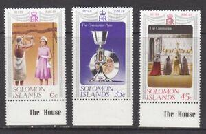 1977 Solomon Islands Queen Elizabeth 11 Silver Jubilee set of 3 mint stamps.