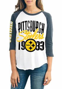 Pittsburgh Steelers NFL Junk Food Raglan Baseball Tee Women's T-Shirt