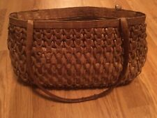 Nancy Gonzalez Woven Tan Brown Crocodile Leather Purse Bag Tote - Needs Repair