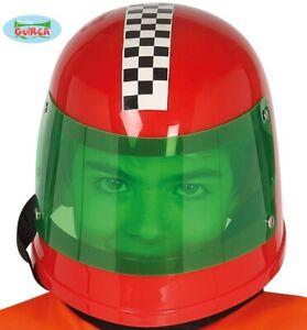 Childs Unisex Racing Driver Helmet Kids Childrens Fancy Dress Red Driving Hat fg