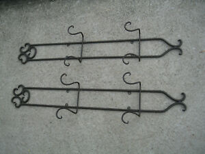 "Wrought Iron  Vertical 2 -Plate Holder Wall Hanger color brown   2 pcs  37"" long"