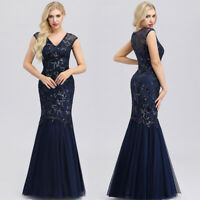 UK Ever-Pretty Vintage V-Neck Long Wedding Party Dress Mermaid Evening Ball Gown
