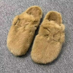 2021 Women's Furry Slippers Real Mink Fur Slides Flat Luxury Fluffy Shoes 36085