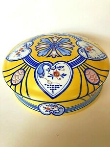 LIMOGES TIFFANY LE TALLEC PRIVATE STOCK HAND PAINTED YELLOW/BLUE PORCELAIN BOX