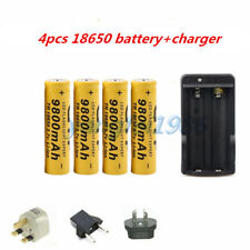 4pcs 18650 3.7V 9800mAh Rechargeable Li-ion Battery For Flashlight Torch+Charger