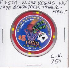 LTD EDIT $5 CASINO CHIP FIESTA N.L.V., NV 1998 BLACKJACK TOURNAMENT ONLY 750