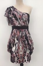 Lipsy size 10 one shoulder party dress abstract print peplum cut semi sheer
