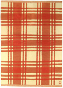 Midcentury Swedish Red and Cream Hand Knotted Wool Rug BB5256