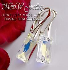 925 Sterling Silver Earrings QUEEN BAGUETTE Crystal AB Crystals From Swarovski®