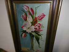 Vintage floral oil painting in gold frame tulips by L.N. Belgian