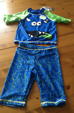 boys uv 50+ monster 2 piece swim surfsuit sunsuit blue green 18-24 months new