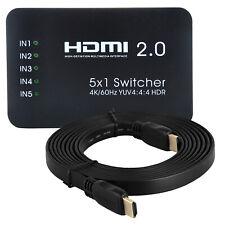 HDMI 2.0 Switch Box 5 Input 4K 60Hz 2K UHD 3D Switcher Remote + Flat Cable 2160P