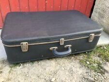 ANCIENNE GRANDE VALISE CARTON GRISE vintage suitcase