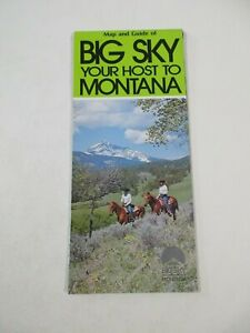 Big Sky Montana State Pictorial Guide Travel Map Brochure~BR3