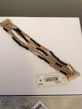 $38 Kenneth Cole Multi Strand Gold Tone & Black Magnetic Bracelet #119ac