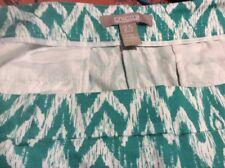 Chico's 2.5 Green White Print Cotton  Pants