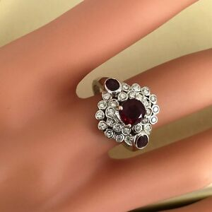 Vintage Ruby and Diamonds 18K Engagement Ring, Mid-Century