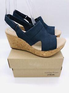 Clarks Women's Annadel Ivory Adjustable Wedge Sandals NAVY Nubuck , choose size