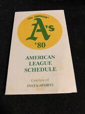 1980 Oakland A's Baseball Pocket Schedule Insta-Sports Version