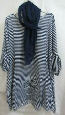 Women's Blue White Stripe New Tunic Top With Scarf One Size Fits 14 16 18 20