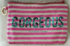 Victoria's Secret Sequin bling Stripe Gorgeous Makeup Bag Travel Cosmetic Pink N