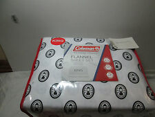 New Coleman The Outdoor Company LANTERN King Flannel Sheet Set ~ Black and White