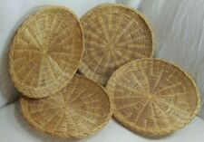 Set Of 4 Wicker Bamboo Rattan Woven Paper Plate Holders