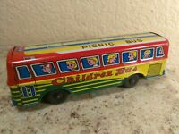 Vintage Tin Friction Toy Bus Japan