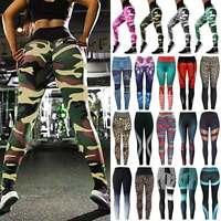 Women High Waist Yoga Pants Butt Lift Leggings Workout Fitness Ruched Trousers O