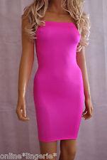 Mini Dress Neon PINK Lycra Strapless Boob Tube Womens Sexy Club Party Bodycon D9